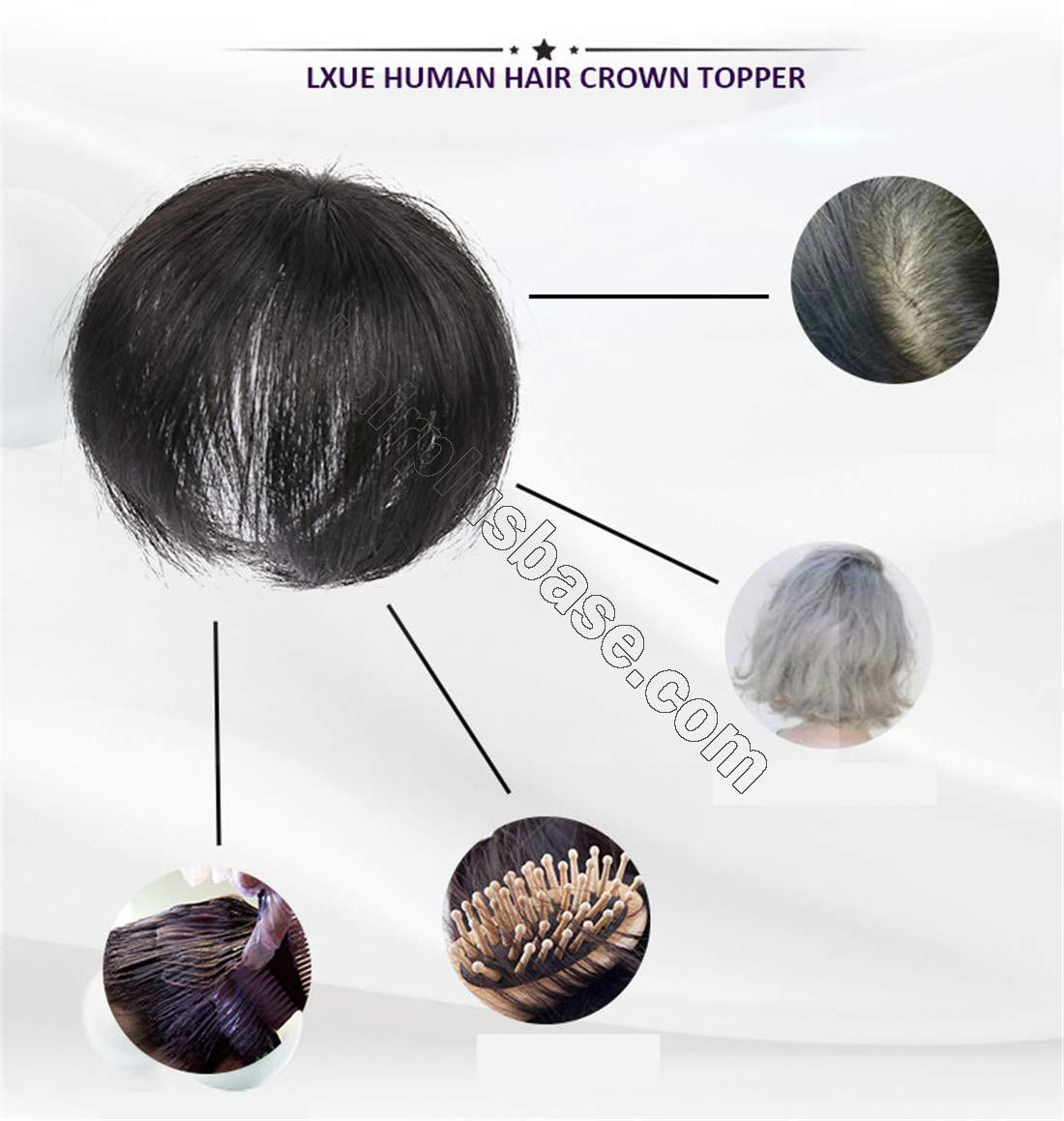 Real Human Hair Crown Toppers for Women with Bald Spot, Clip in Top Hairpieces Toupee for Women 4