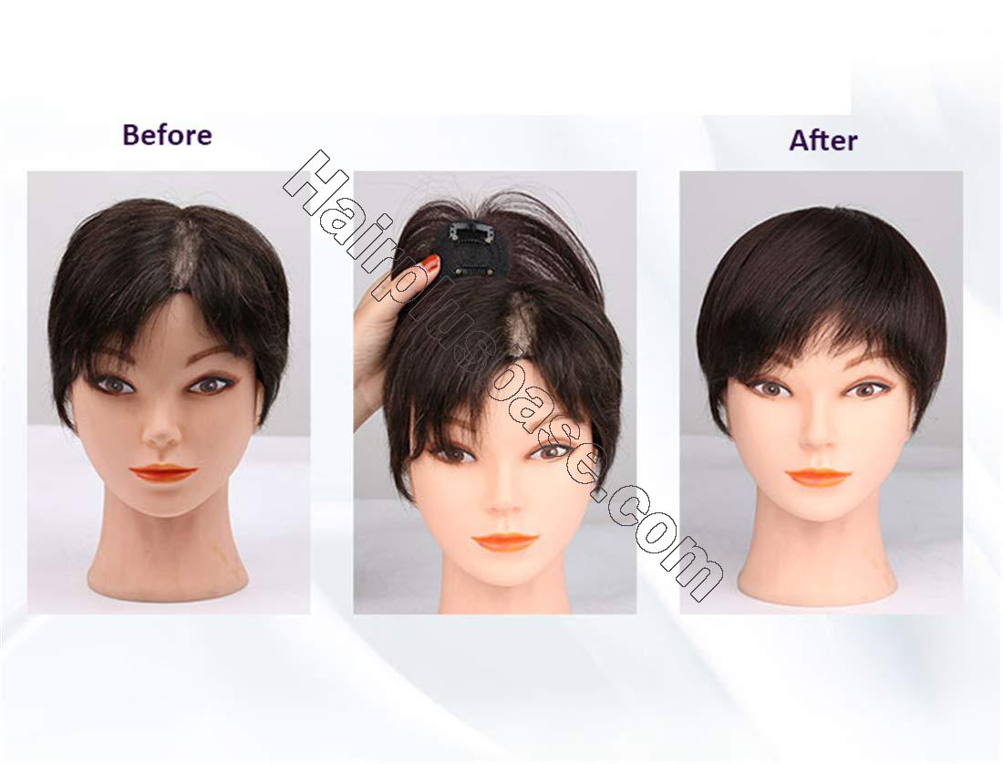 Real Human Hair Crown Toppers for Women with Bald Spot, Clip in Top Hairpieces Toupee for Women 5