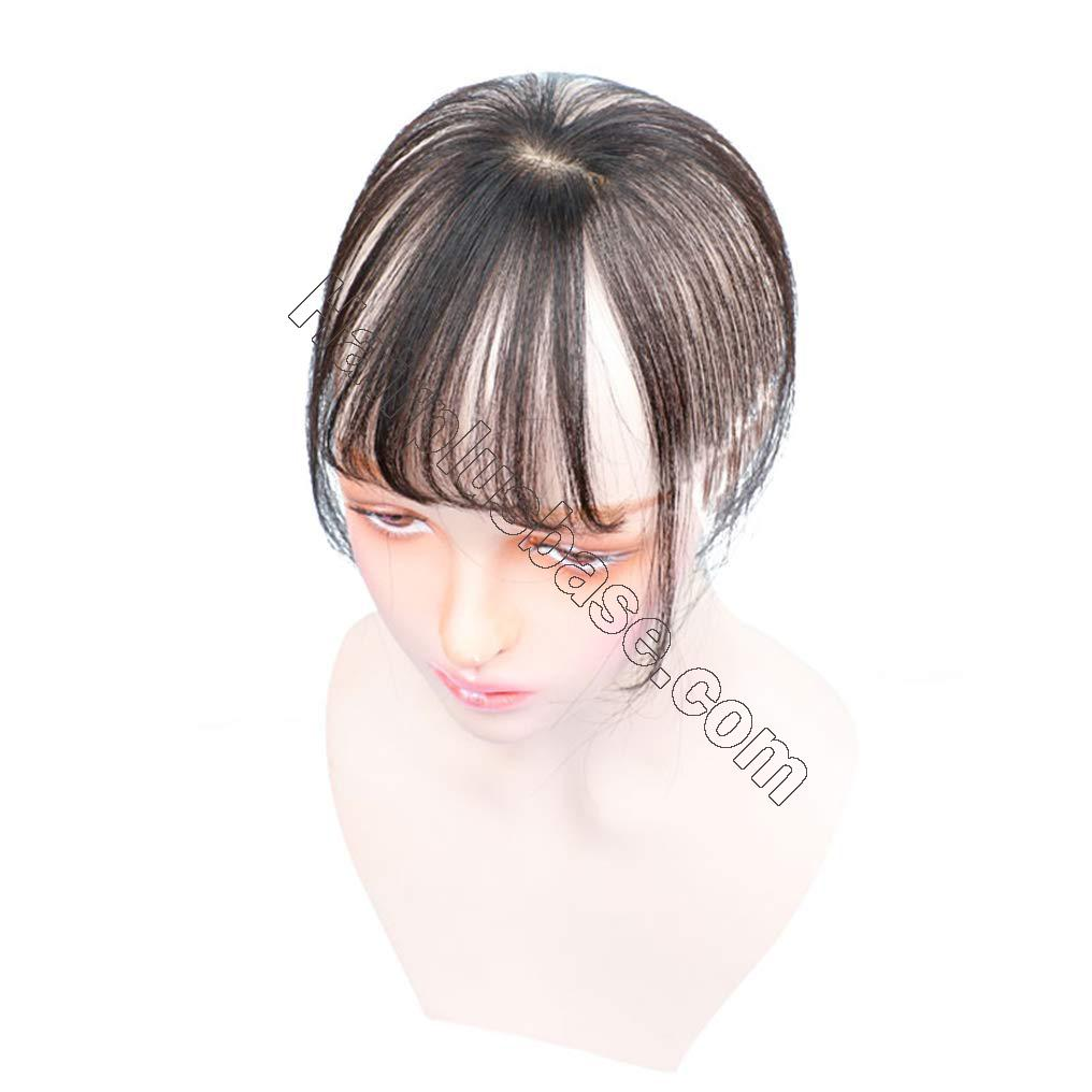 Real Human Hair Mono Toppers Clip in Invisible 3D Bangs Hairpieces Hand Made Fringe for Women 2