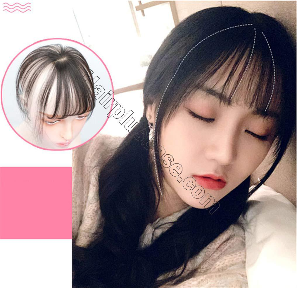 Real Human Hair Mono Toppers Clip in Invisible 3D Bangs Hairpieces Hand Made Fringe for Women 4