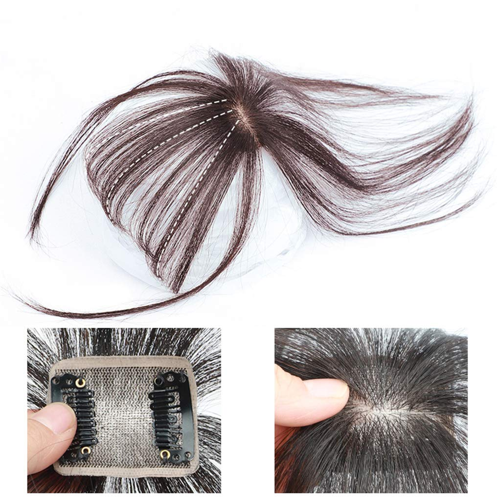 Real Human Hair Mono Toppers Clip in Invisible 3D Bangs Hairpieces Hand Made Fringe for Women 6