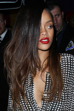 Rihanna Chocolate Brown Ombre Human Hair Side Part Celebrity Lace Wigs