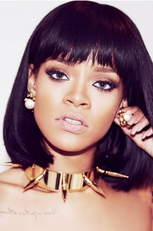 Rihanna Cute Short Bob #1B Black Hair Full Bangs Lace Wigs