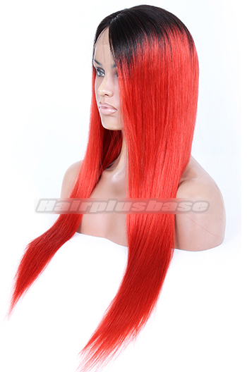 22inches 120% density ,black to red ombre hair