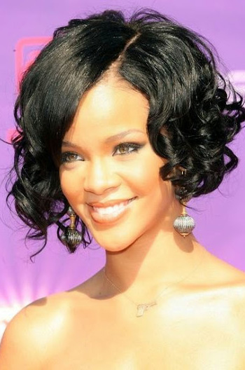 Rihanna Inspired Cute Curly Short Bob Human Hair Lace Wigs 10 Inch
