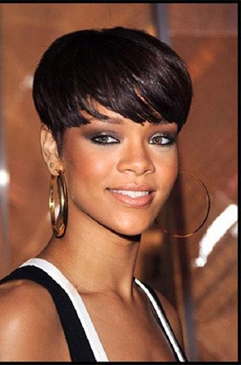 Rihanna Inspired Short Haircut With Full Bangs Human Hair Wigs