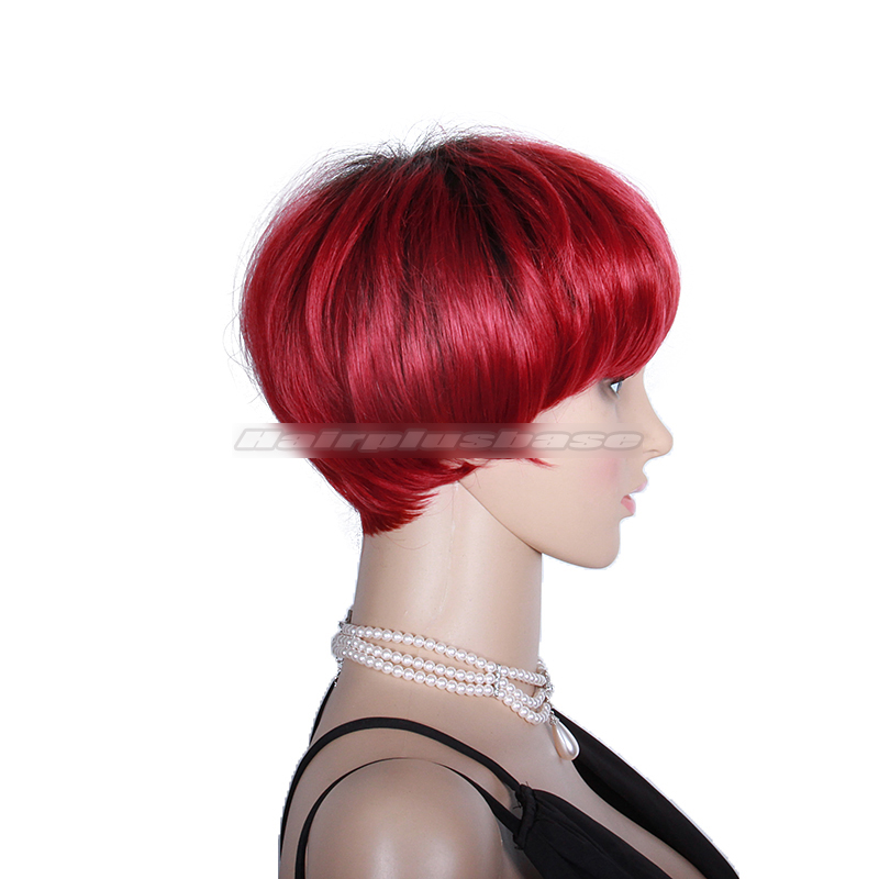 Rihanna Inspired Short Red Human Hair Wig with Full Fringe NR-03