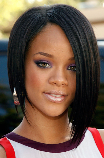 Rihanna Inspired Side Part Short Bob Black Color Human Hair Affordable Sew In Lace Wigs