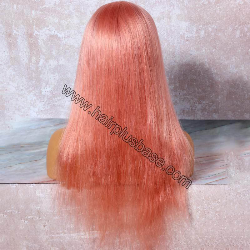 Salmon Pink Hair Full Lace Wigs Natural Straight, 120% Density, Chinese Virgin Hair 2