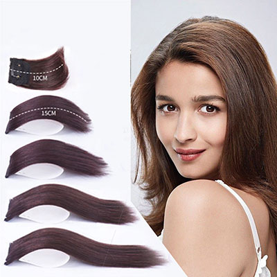 "Short Human Hair Extensions Clip in Wiglet Hair Piece for Women and Men 4"" Straight Crown Hairpieces"