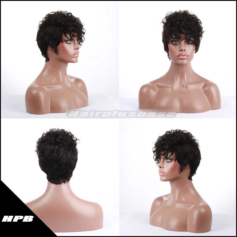 Short Curly Human Hair Wigs Glueless Wigs PWHH-13-0325