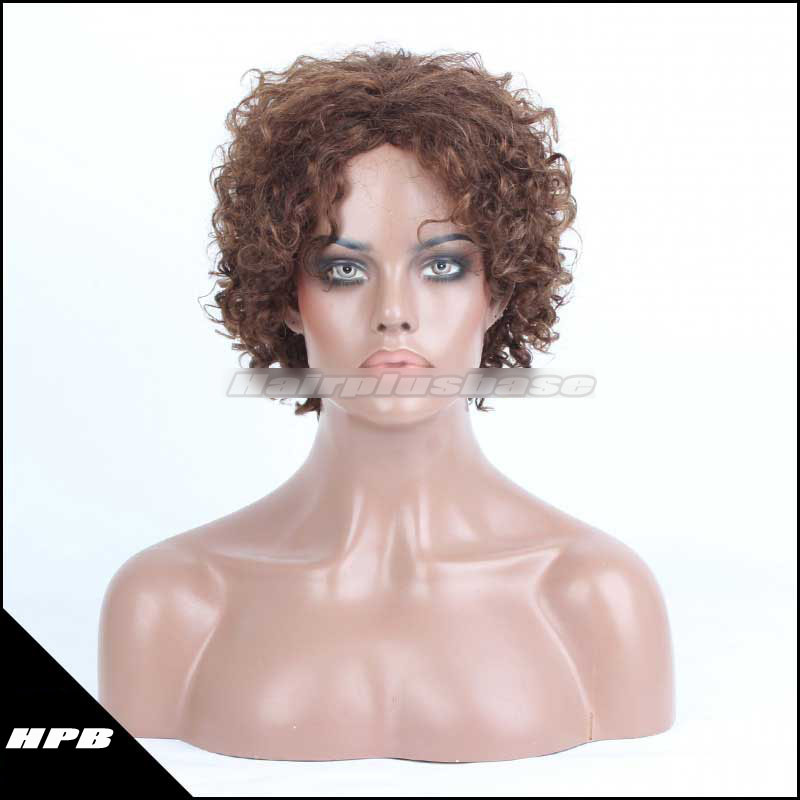 Cheap 1B# Color Curly Indian Remy Hair Machine Made Glueless Cap Wigs PWHH-13-1002