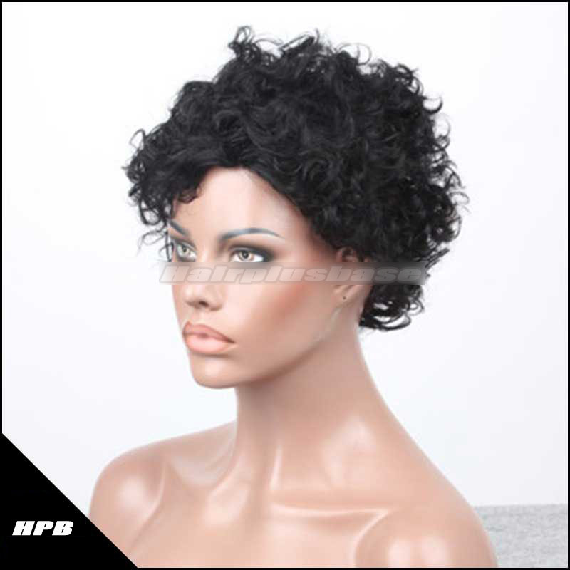 Cheap Short Haircut Human Hair Gluless Cap Machine Made Wigs JZ-001