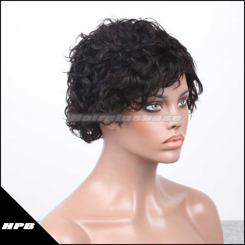 Haircut Human Hair Wigs Machine Made Caps Glueless Wigs JZ-002