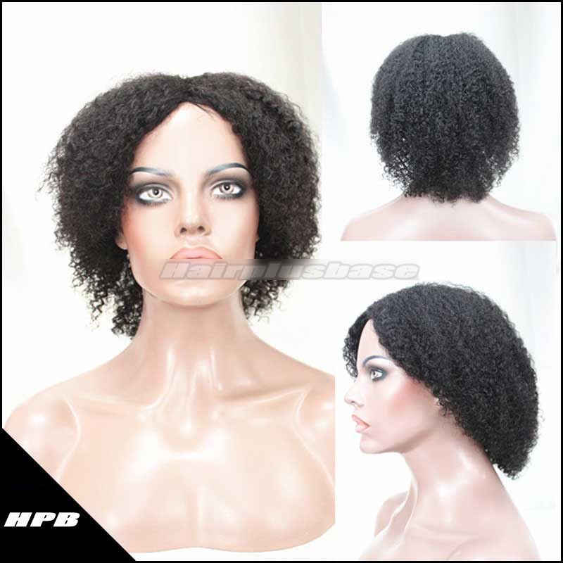 hort Hairstyle Kinky Curl Human Hair Gluless Cap Machine Made Wigs JZ-003