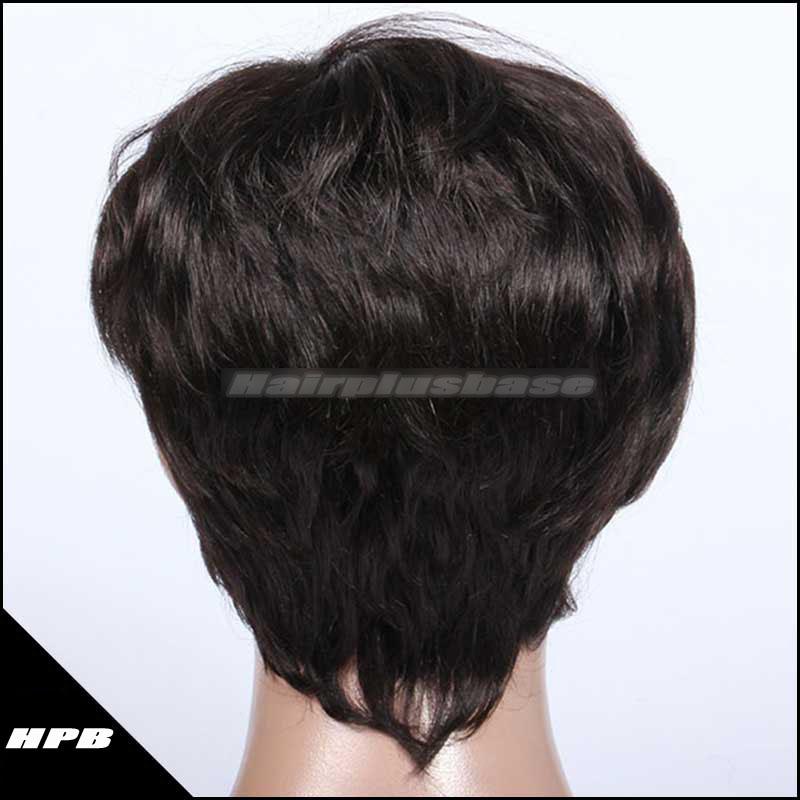 Short Bob Indian Remy Hair Machine Made Glueless Cap Wigs WB-01