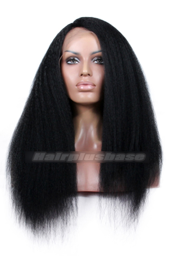 16 Inch Kinky Straight Natural Looking Indian Remy Hair Side Part Glueless Lace Part Lace Wigs