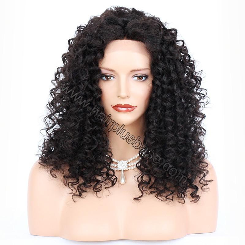 Silk Base 4*4 Lace Front Wigs Indian Human Hair Kinky Curly 1