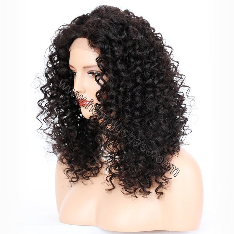Silk Base 4*4 Lace Front Wigs Indian Human Hair Kinky Curly 3