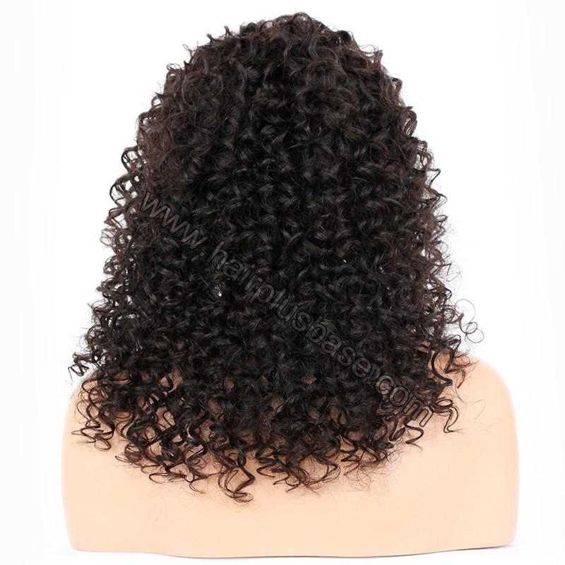 Silk Base 4*4 Lace Front Wigs Indian Human Hair Kinky Curly 4