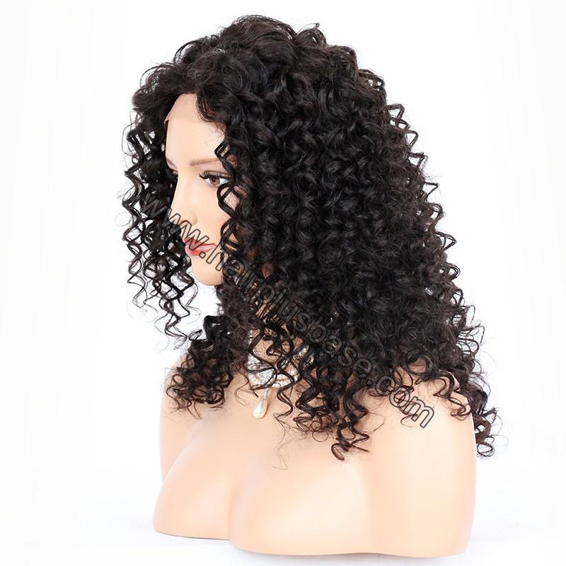 Silk Base 4*4 Lace Front Wigs Indian Human Hair Kinky Curly 5