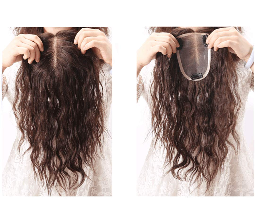 Mono Human Hair Toppers Clip in Hairpiece for Women For Thinning Hair Curly 2