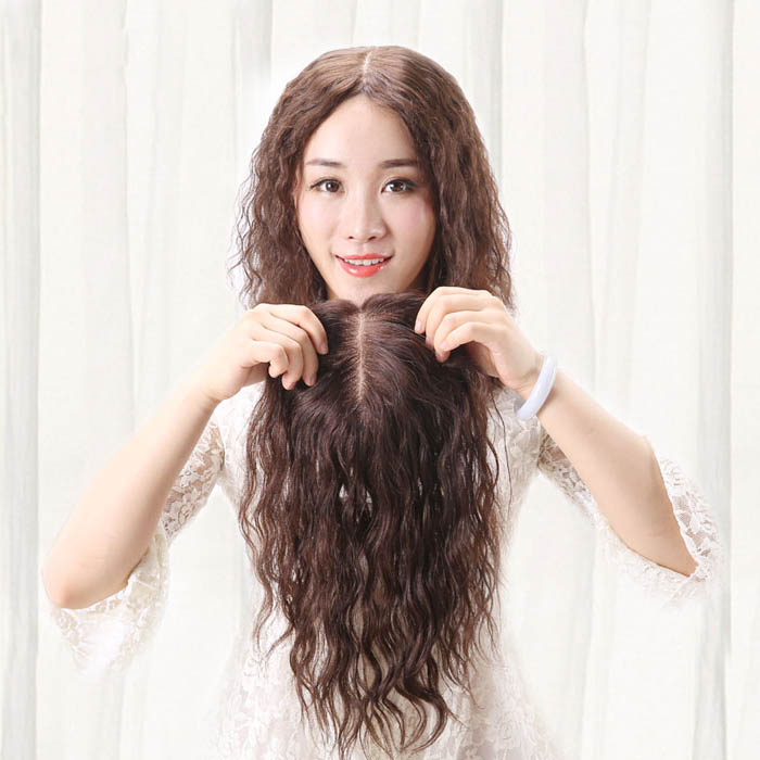Mono Human Hair Toppers Clip in Hairpiece for Women For Thinning Hair Curly 4