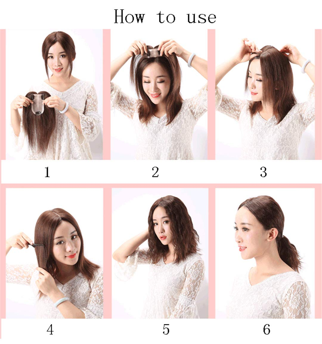 Mono Human Hair Toppers Clip in Hairpiece for Women For Thinning Hair Curly