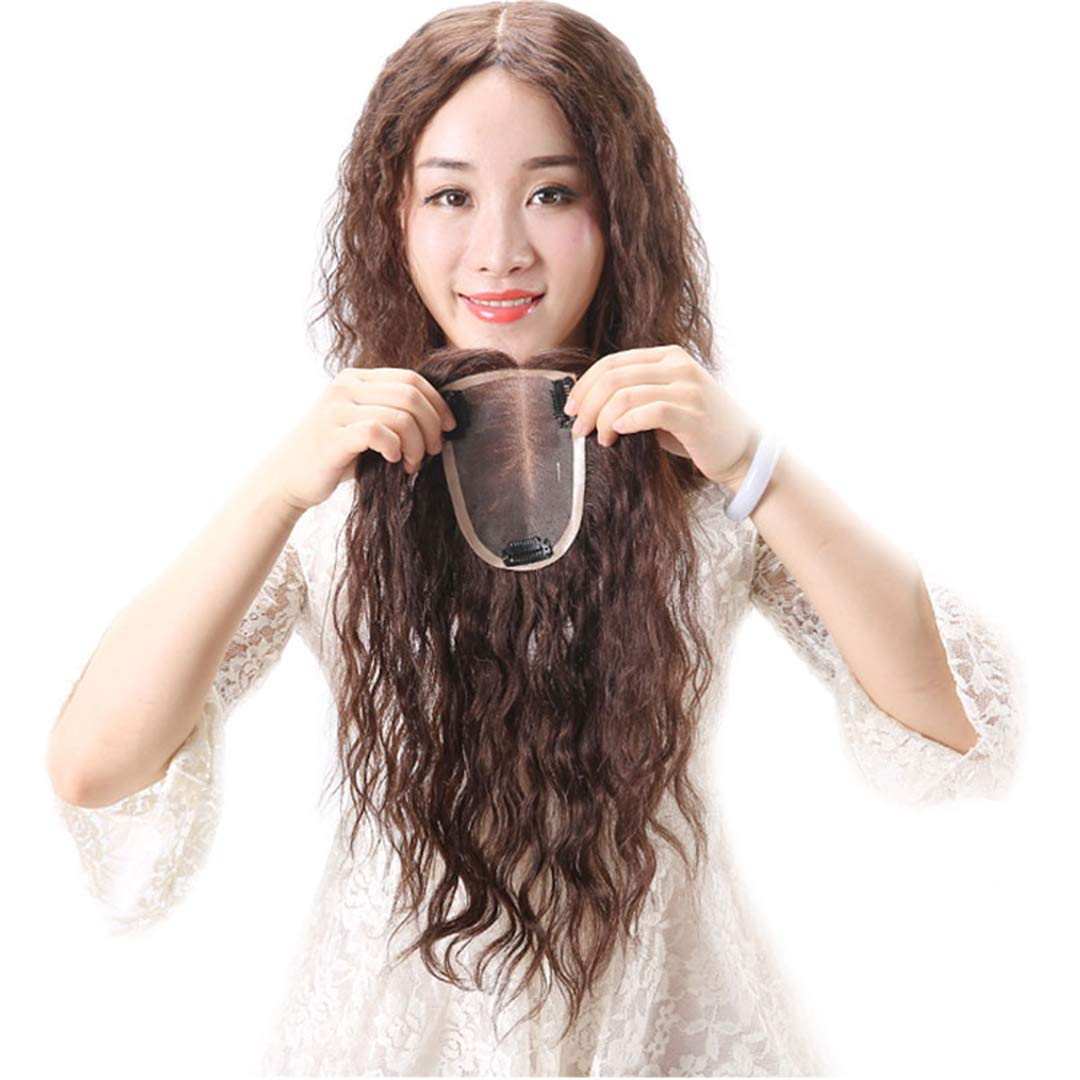 Mono Human Hair Toppers Clip in Hairpiece for Women For Thinning Hair Curly 6