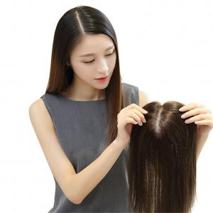 Silk Base Human Hair Toppers for Thinning Hair Clip in Hairpiece for Women