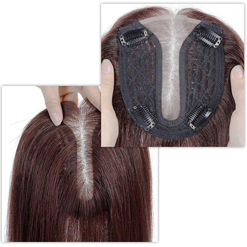 Silk Parline Base Hair Topper Pieces, Real Hair Toppers for Hair Loss or Thinning Hair 10