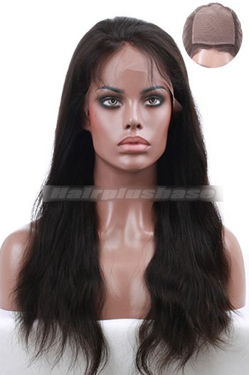 18 Inch Indian Remy Hair Natural Wave Silk Top Full Lace Wigs