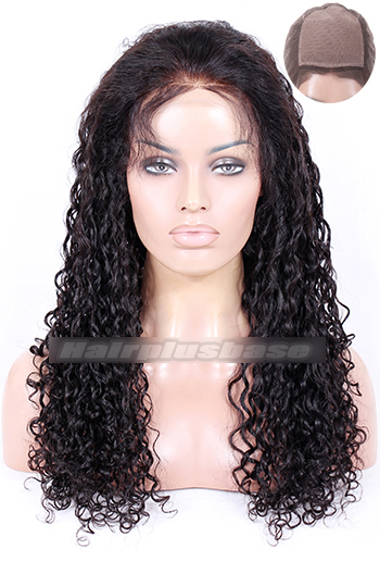 22 Inch #1B Black Water Wave Indian Remy Hair Silk Top Full Lace Wigs
