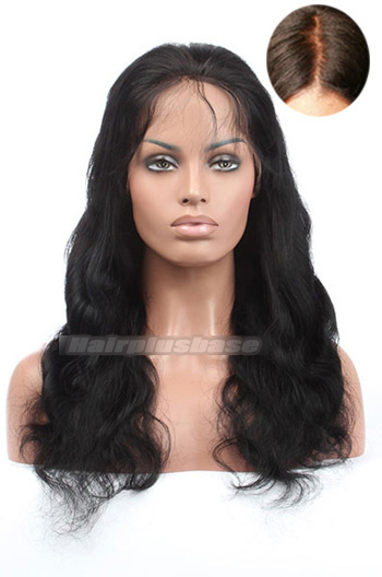 18 Inch Indian Remy Hair Body Wave Silk Top Glueless Lace Front Wigs