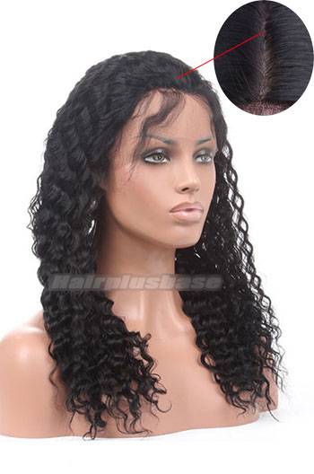 18 Inch Indian Remy Hair Deep Wave Silk Top Glueless Lace Front Wigs