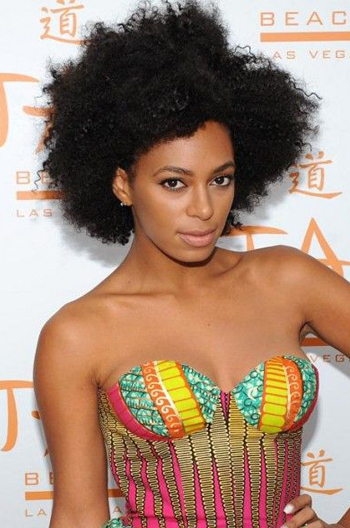 Solange Knowles Inspired Afro Kinky Curly Glueless Human Hair Wigs