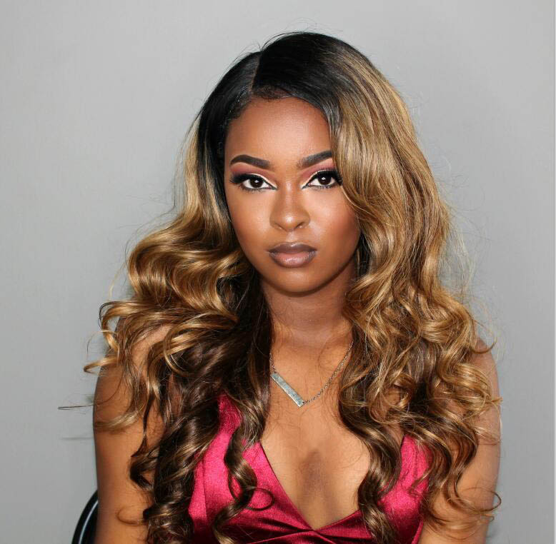 Stock Glueless Lace Front Wigs Indian Remy Hair Ombre Highlight Color #2/27/4 20 Inches