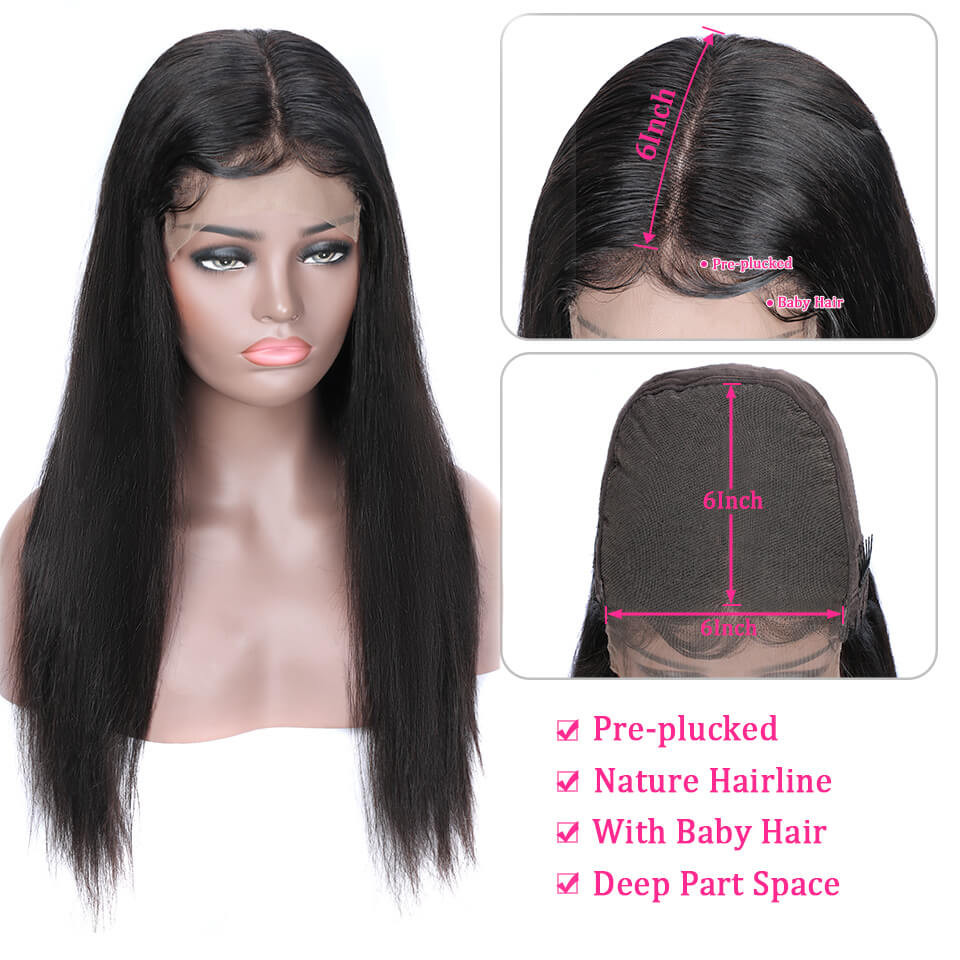 Straight 180% Density 6*6 Lace Wigs Made By Bundles With Closure 6*6 4