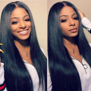 Straight 180% Density 6*6 Lace Wigs Made By Bundles With Closure 6*6