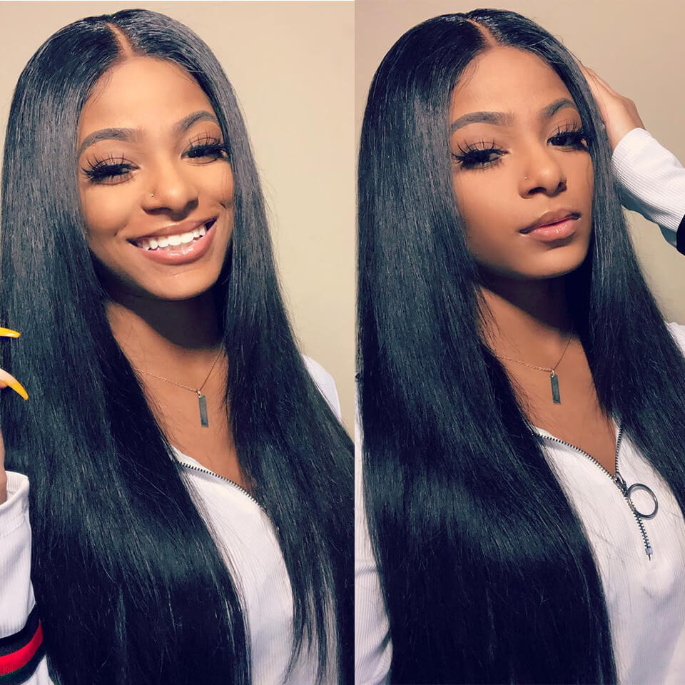 Straight 180% Density 6*6 Lace Wigs Made By Bundles With Closure 6*6 8