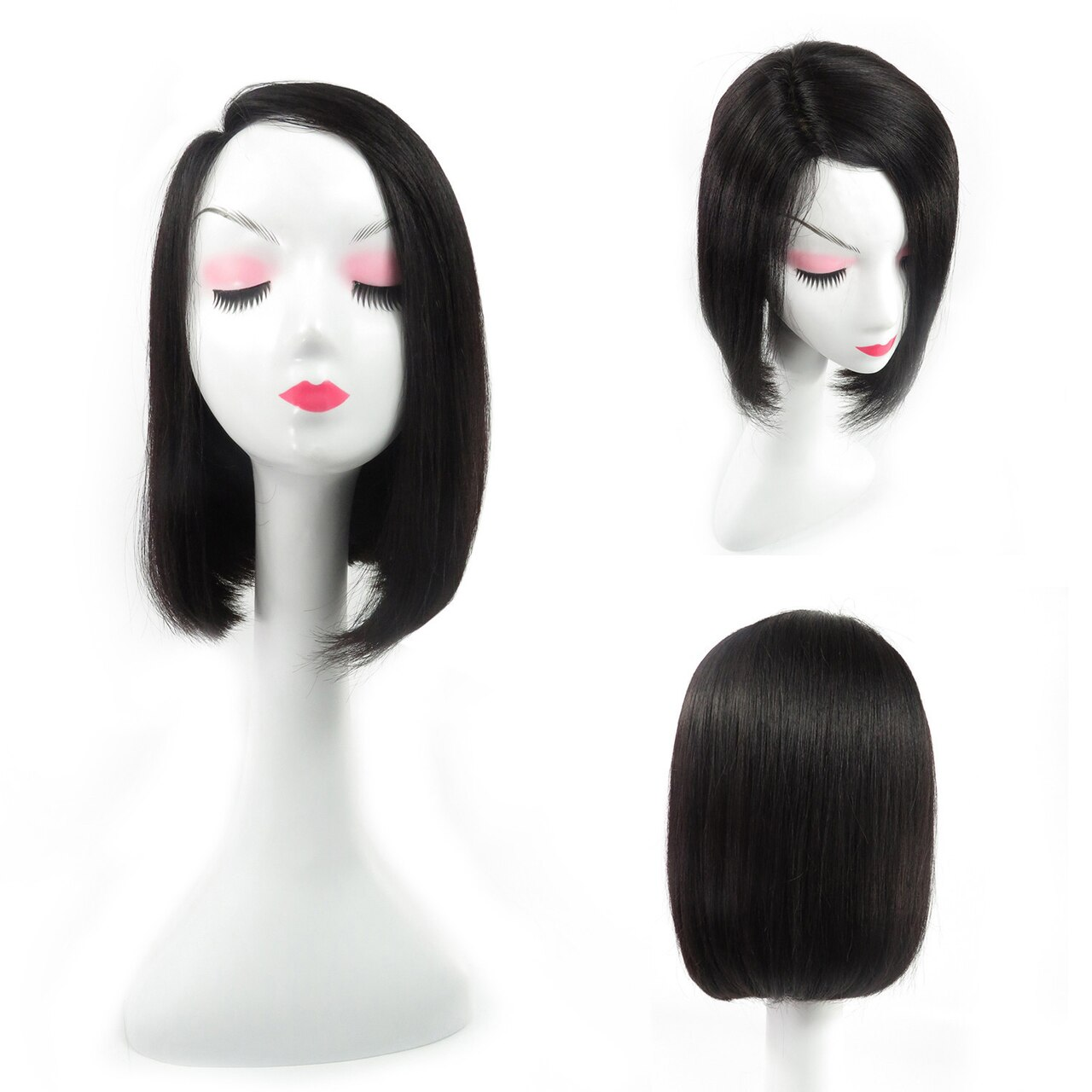 Straight Bob Wigs Machine Weft 100% Remy Human Hair Mommy Human Wig 0