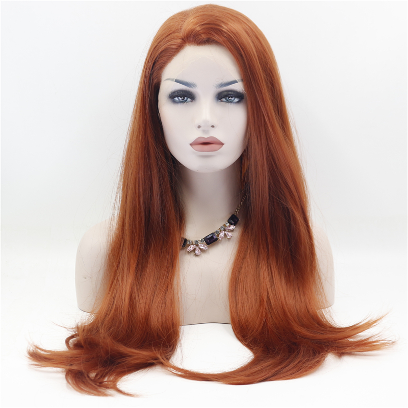 Straight Copper Red Front Lace Wig 0