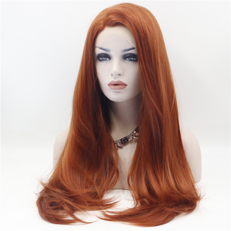 Straight Copper Red Front Lace Wig 4