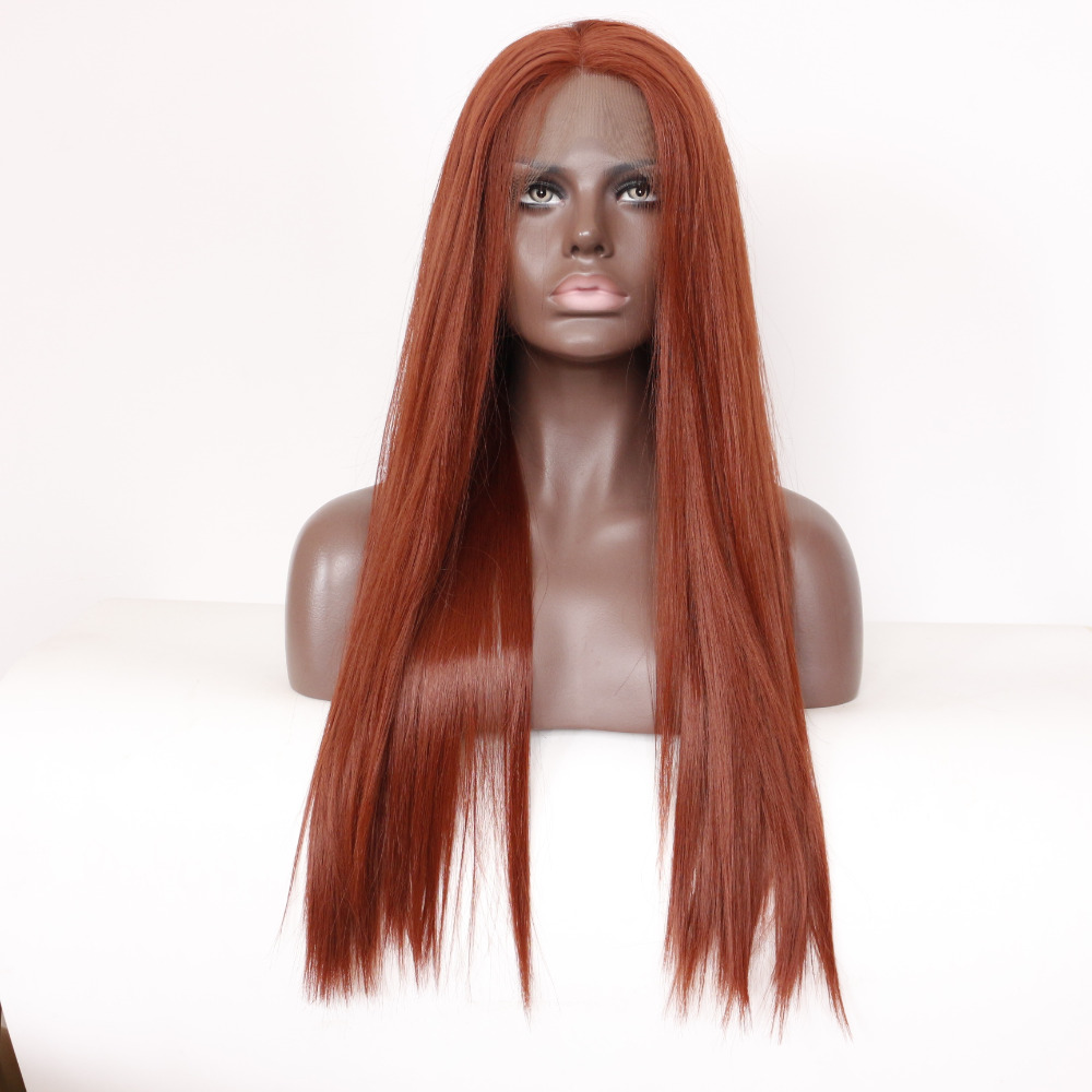 Straight Copper Red Lace Front Wig Synthetic Hair