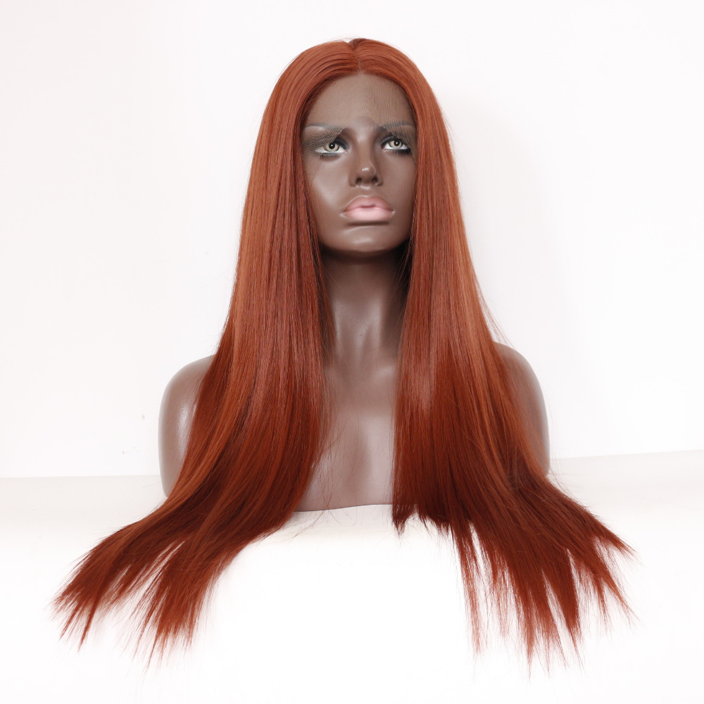 Straight Copper Red Lace Front Wig Synthetic Hair 1