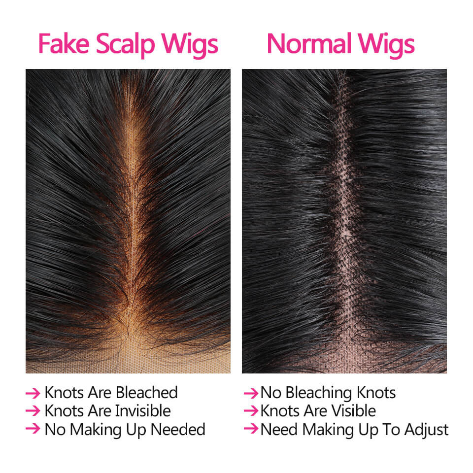 Straight Fake Scalp Lace Front Wigs Bleached Knots Invisible Lace Wigs 8-30Inch 5