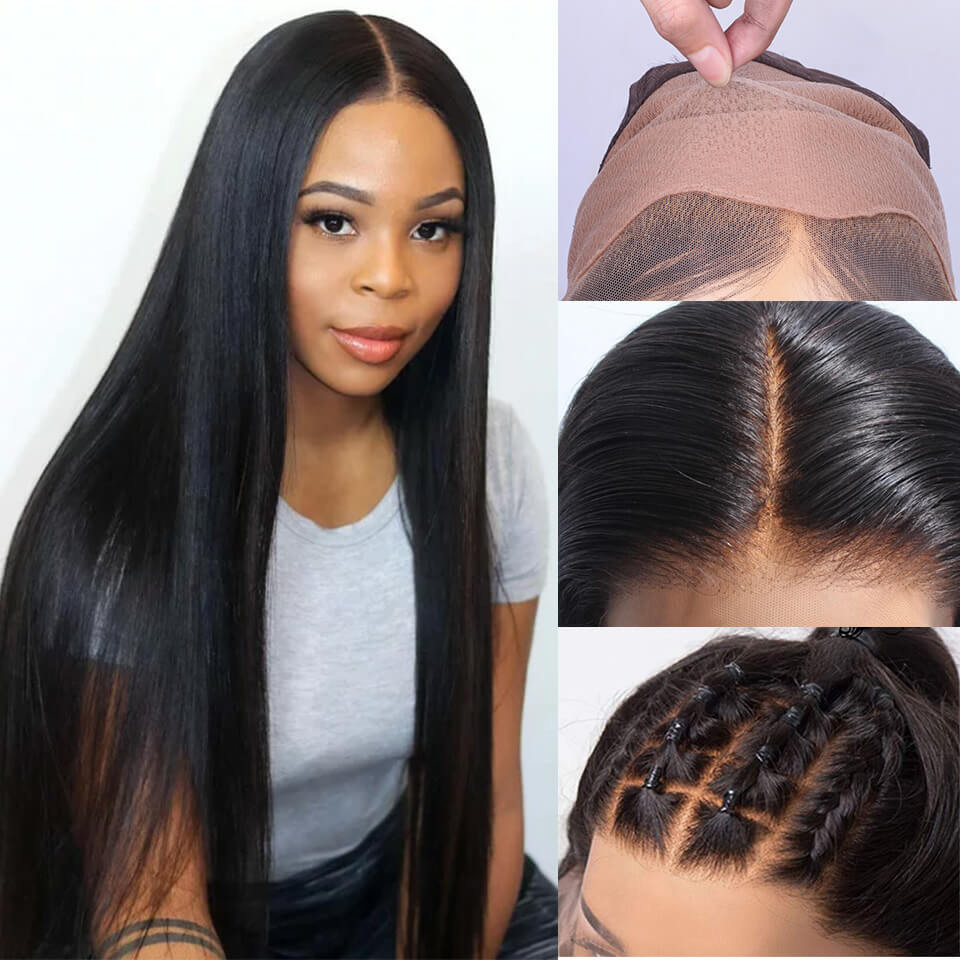 Straight Fake Scalp Lace Front Wigs Bleached Knots Invisible Lace Wigs 8-30Inch 8