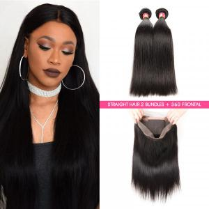 Straight Hair 2 Bundles With 360 Lace Frontal Virgin Hair