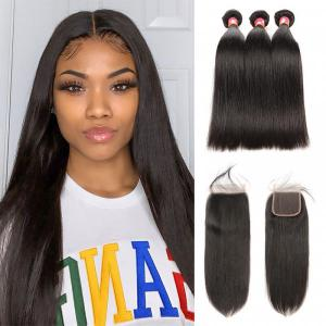 Straight Hair 3 Bundles With 4*4 Lace Closure Hair For Sale