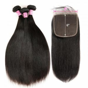 Straight Hair 3 Bundles With Lace Closure 6x6 Inch Unprocessed Human Hair